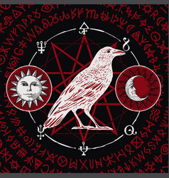 Banner with drawn white raven and sorcery signs vector
