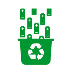 Battery recycling container icon flat vector