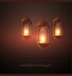 Beautiful ramadan lamps hanging vector