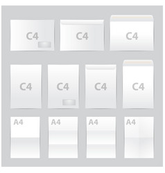 Blank paper envelopes set a4 c4 format vector
