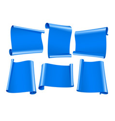 blank scrolls of blue paper stickers set vector image