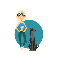 Blonde fashionable girl walking with dog vector