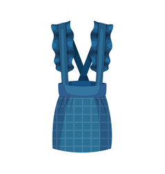 Blue pinafore dress with checkered skirt vector