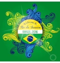 Brazil Summer 2016 With Colorfull Waves vector