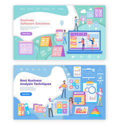business software or analysis techniques web pages vector image