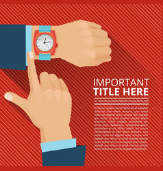 Businessman looking on hand watch vector