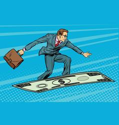 Businessman on flying money carpet plane vector