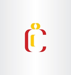 c letter man red yellow icon symbol vector image