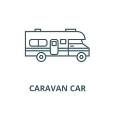 Caravan car line icon linear concept vector