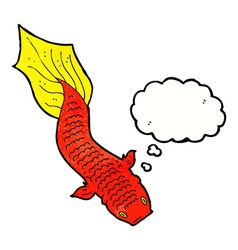 cartoon fish with thought bubble vector image