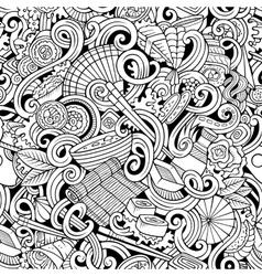 Cartoon hand-drawn doodles japanese cuisine vector