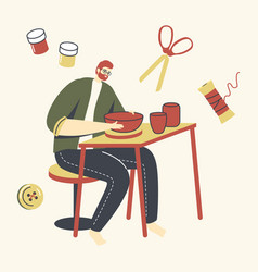 Ceramist artist male character with wheel on table vector
