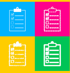 checklist sign four styles of icon vector image