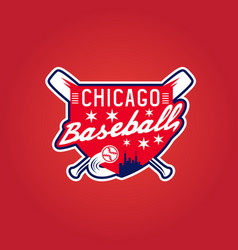 chicago baseball vintage sport coat of arms crest vector image