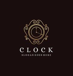 classic clock logo template vector image