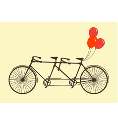 classic romantic tandem bicycle with balloons vector image
