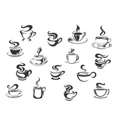 coffee cups icons set vector image
