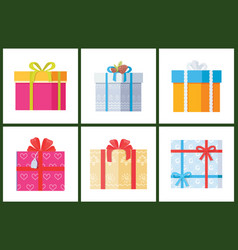 collection gift box presents wrapped packages icon vector image