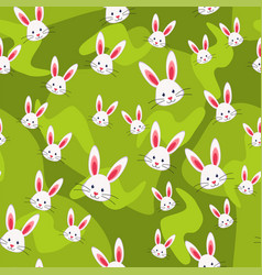 colorful seamless pattern rabbit grass background vector image