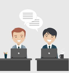 coworkers talking about work at the office vector image