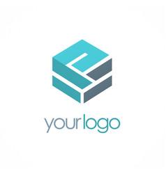 cube shape 3d company logo vector image