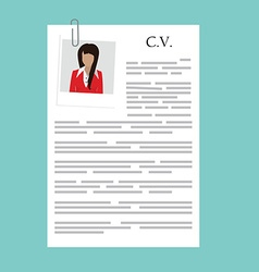 Curriculum vitae with photo vector image