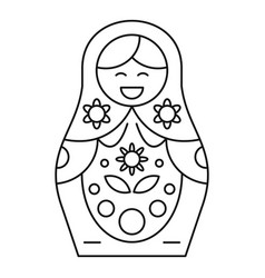 Cute nesting doll icon outline style vector