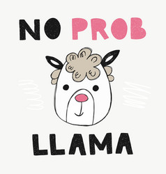 Cute poster with hand drawn funny lama vector