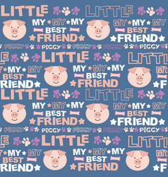 cute seamless texture with cartoon pig vector image