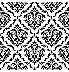 Damask black and white floral seamless pattern vector image