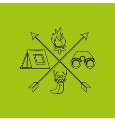 Deer camp camping fire binoculars vector