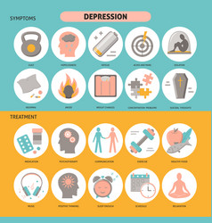 Depression symptoms and treatment icons set in vector
