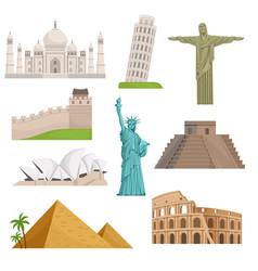 different historical famous landmarks world vector image