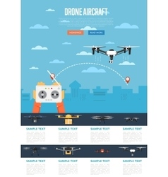 Drone technology concept with flying robot vector image