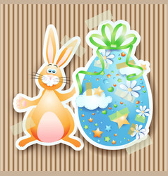 easter background with egg and bunny vector image