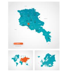 Editable template map armenia with marks vector