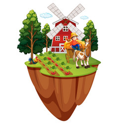 farmer on horse in the farm vector image
