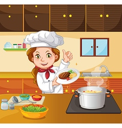 Female chef cooking in the kitchen vector