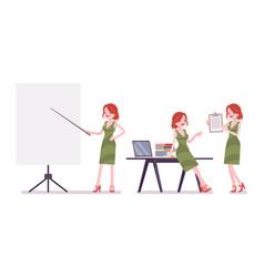 Female clerk working vector
