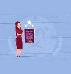 Female cook holding best chef award happy cartoon vector