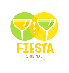 Fiesta original logo design green and yellow vector