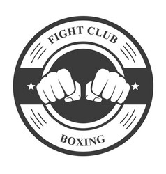 Fight club emblem with two fists - boxing club bad vector