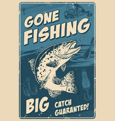 Fishing vintage poster vector