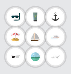 Flat icon summer set of deck chair scuba diving vector
