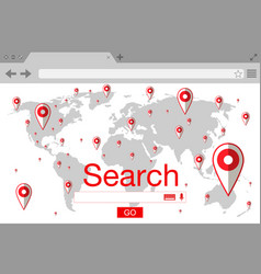 Flat style browser search engine world map with vector