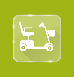 Flat style mobility scooter silhouette icon vector