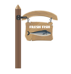 Fresh fish on hanging wooden board poster vector