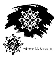 Froral mandala tattoo silhouette vector