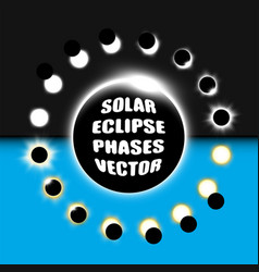 Full and partial solar eclipse design elements vector