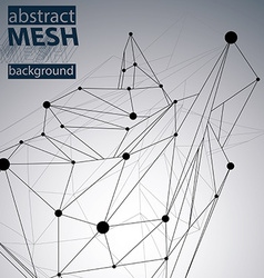 Geometric monochrome polygonal structure with wire vector image